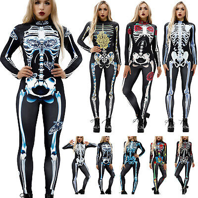 Skeleton Jumpsuits Adult Long Sleeve Zipper Bodysuit Catsuit Costume Halloween