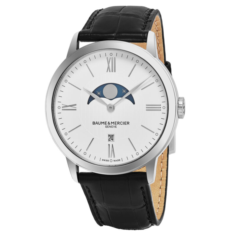 Baume Mercier Men's Classima Moonphase Swiss Quartz Black Leather Watch MOA10219 - watch picture 1