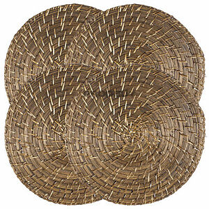 Set of 4 placemats round rattan bamboo mats dining table for Set de table rotin