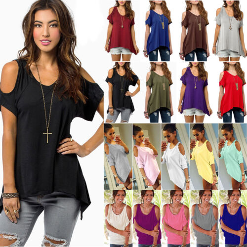 Damen Sommer T-Shirt Kalte Schulter Tops Blusen Tee Shirt Tunika Hemd Oberteile