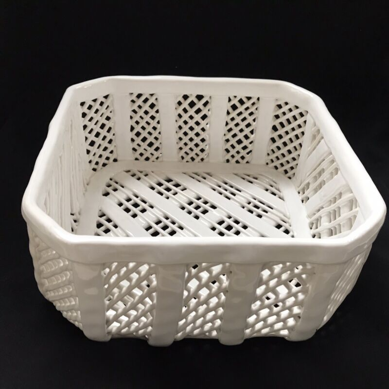 WHITE WOVEN LATTICED CERAMIC BASKET PORTUGAL  CASAFINA