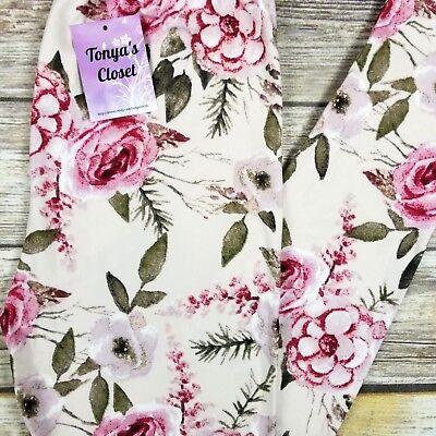 Pink Roses Leggings Floral Print Cream Base Buttery Soft ONE SIZE OS Floral Print Leggings