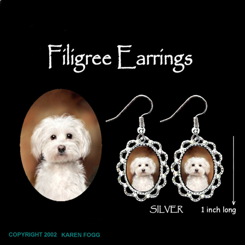 MALTESE DOG Pet Cut - SILVER  FILIGREE EARRINGS Jewelry