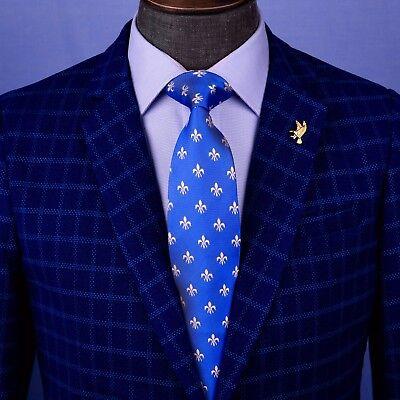 Light Blue Fleur De Lis - Light Blue Italian Fleur-De-Lis Designer Tie 8cm Necktie Florentine Accessory