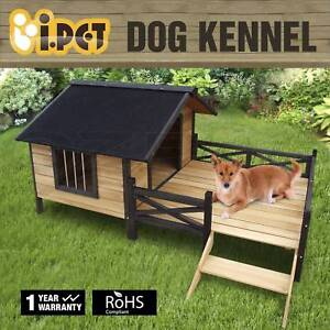 Wooden Timber Pet Dog Elevated Waterproof Outdoor Kennel House