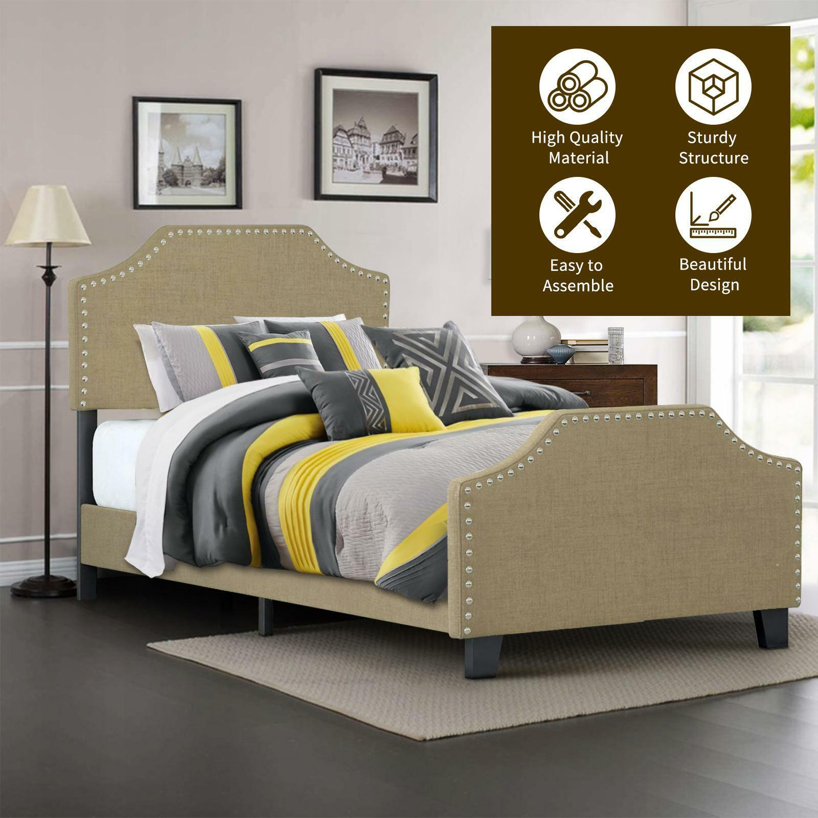 Twin/Full/Queen Size Platform Bed Frame Upholstered Linen He