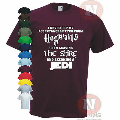 HOGWARTS Lord of the Rings JEDI Star wars The Hobbit funny spoof t-shirt LOTR