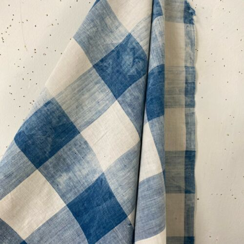 Antique French Vichy check fabric large cotton panel BLUE checkered cloth