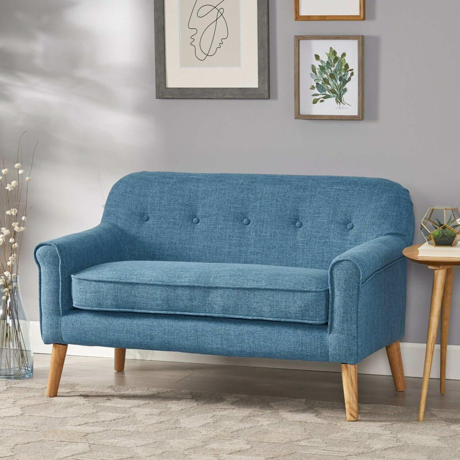 Mia Mid-Century Modern Button Tufted Fabric Upholstered Loveseat w/ Tapered Legs Furniture