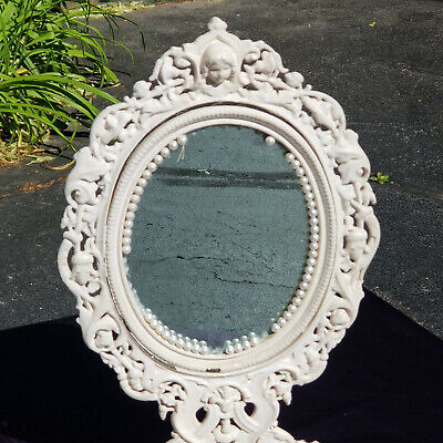 Frame CAST IRON Hollywood Regency Victorian Weathered Patina Wall or Easel Style Vanity Free Shipping!