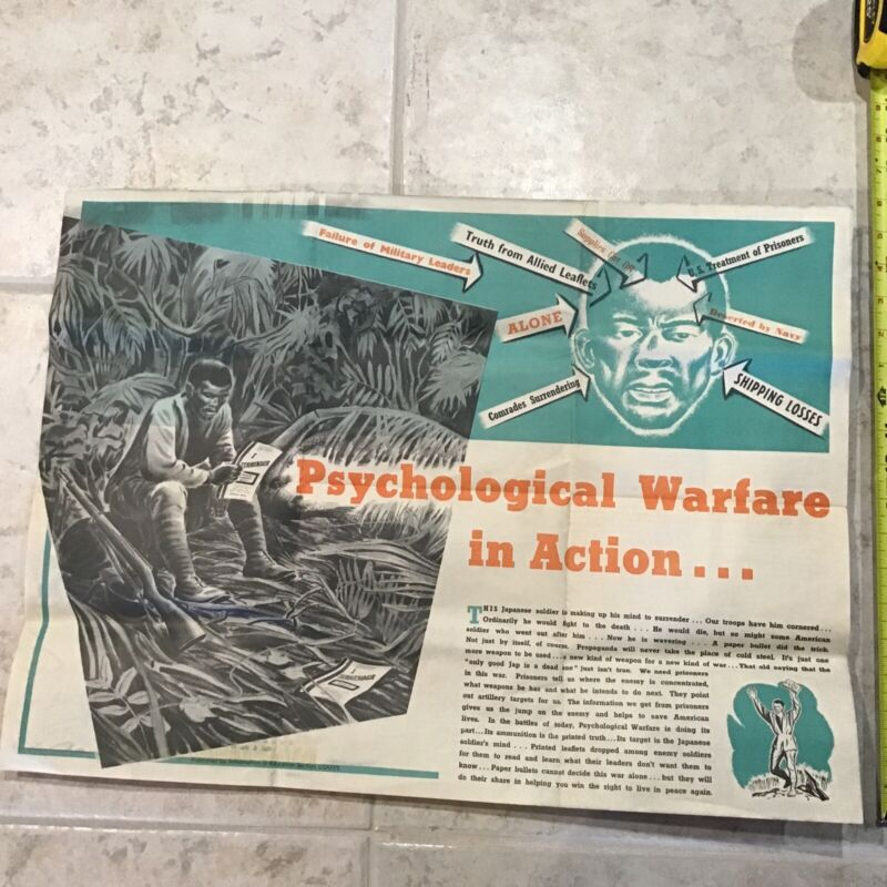 WW2 Japanese Soldier Psychological Warface in Action Foldout Poster News Map