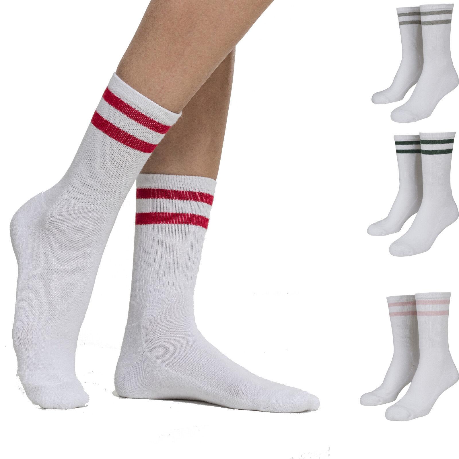 2 Paar Urban Classics 2-Stripes Socken Retro Gr. 35-50 Freizeit Tennis Streifen