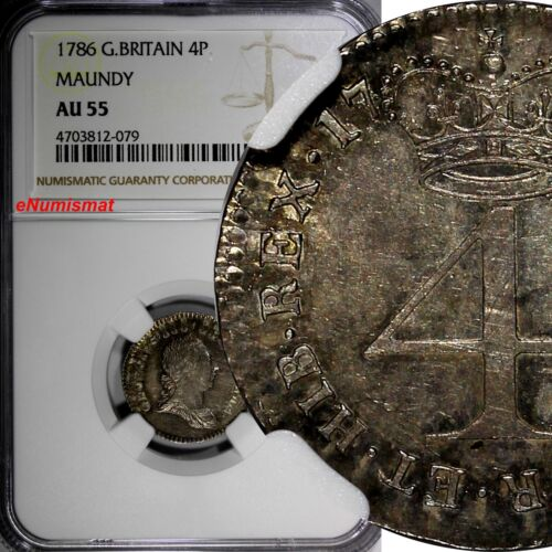 Great Britain Silver 1786 4 Pence NGC AU55 Nice Toned  KM# 596.1