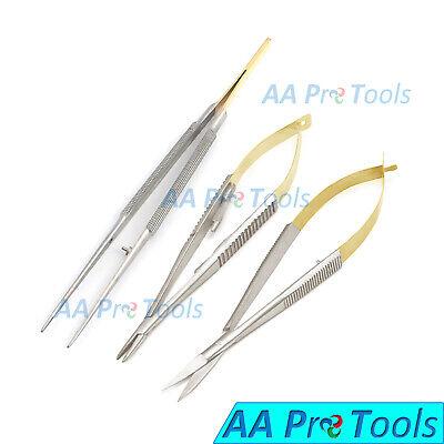 3pcs Castroviejo Micro Surgery Needle Holderscissorsuture Stainless Steel