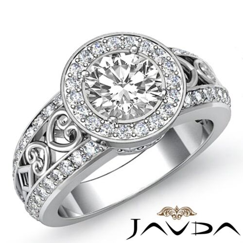 Classic Round Diamond Engagement Halo Pave Ring GIA F VS1 14k White Gold 2.25ct