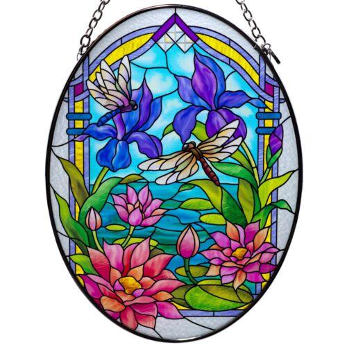 "Waterlilies & Dragonflies Hand Painted Glass Suncatcher By AMIA Studios 7"" x 5"""