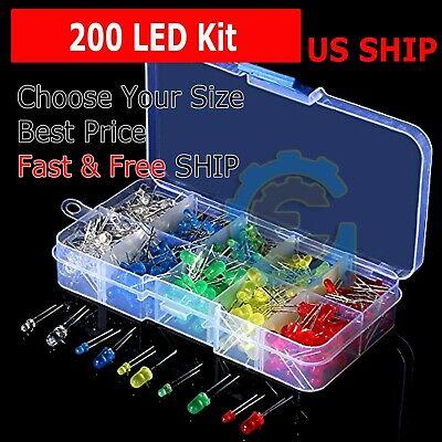 200 Pcs 3mm 5mm Led Light White Yellow Red Green Assortment Kit For Arduino