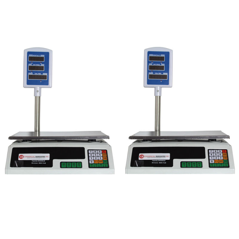 2 Pack Scale Food Price Digital Computing Produce Meat Deli Weight 60LB ACS-30