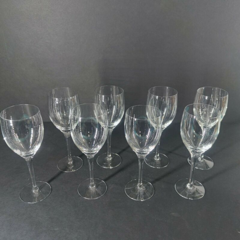 Lot of 8 Vintage Orrefors Illusion Clear Claret Wine 7 1/2 Inch Tall Sweden
