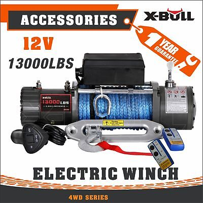 X-BULL 13000lbs 12V Electric Recovery Winch Truck SUV Durable Remote Control 4WD
