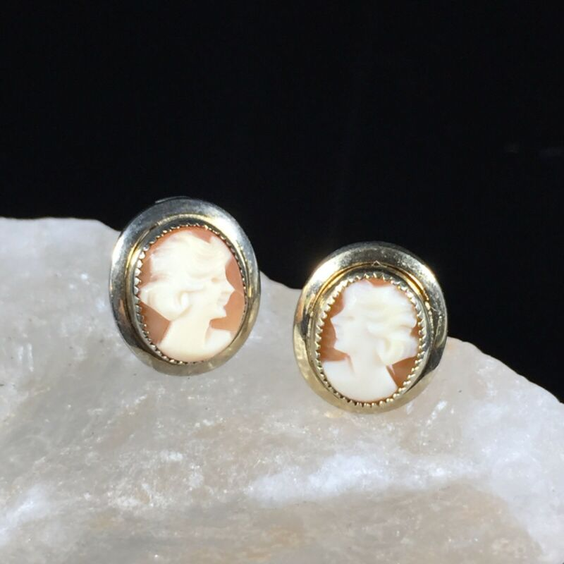 Vintage 1/20 12K Gold Filled Cameo Earrings Petite Oval Deco Ornate Hallmarked