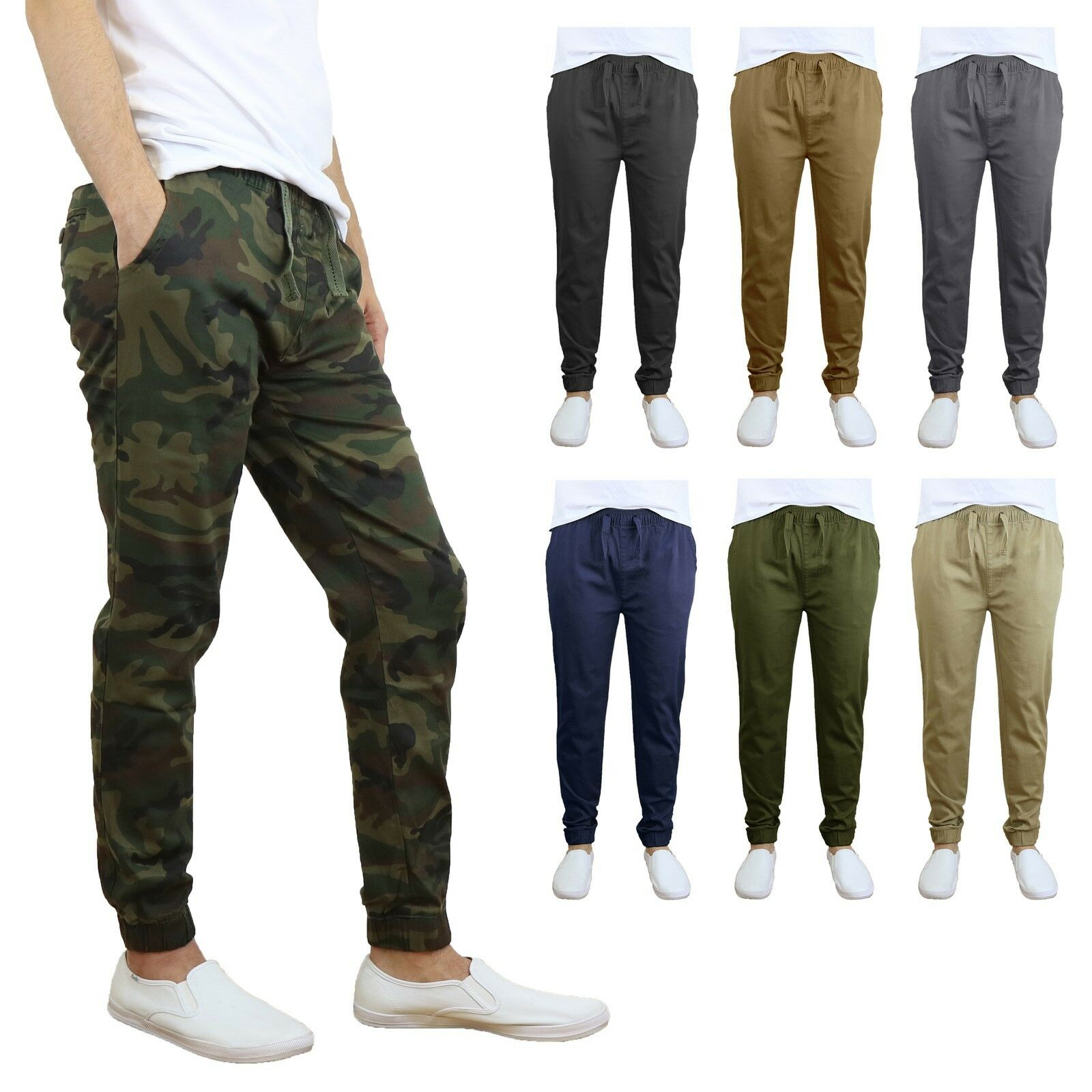 Mens Twill Active Jogger Pants w/ Tapered Ankles Extra Stretch Comfort NEW NWT Clothing, Shoes & Accessories