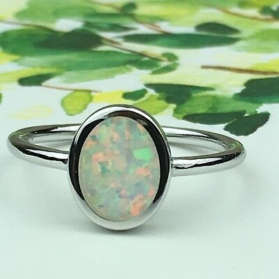NWOT 925 Sterling Silver Genuine Natural Austrian Oval Opal Ring Size 7