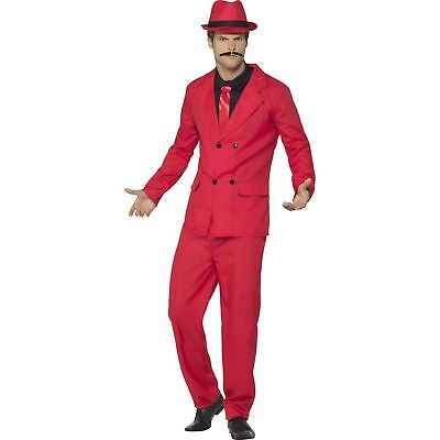 Red Zoot Suit Mafia Gangster Hat Gangsta Mens Adults Fancy Dress Costume