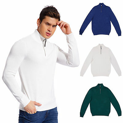 Copperside Mens 100% Cotton Half-Zip Sweater Pullover Long Sleeve Sport 100% Cotton Pullover Sweater