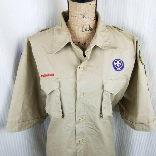 BOY SCOUT SHIRT ADULT XL Tan SHORT SLEEVE OFFICIAL BSA SCOUTMASTER SHLDER Pocket