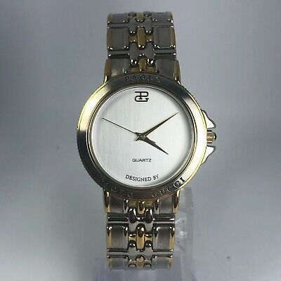 Vintage Paolo Gucci Womens PG492TS Two Tone Stainless Steel Watch