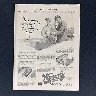 "1929 WAVERLY MOTOR OIL GOLF ILLUSTRATION Vtg Original Magazine Print Ad 20s 14"""