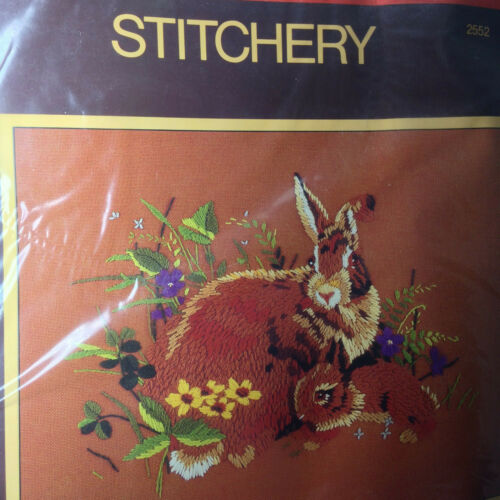 "Sealed Vintage Sunset Stitchery Rabbits in the Meadow Embroidery 11"" x 14"" Kit"