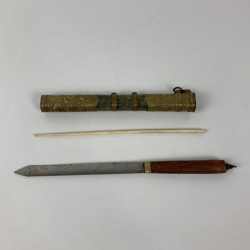 Antique Chinese Eating Wood Handle Trousse Knife and 1 Bone Chopstick Set China