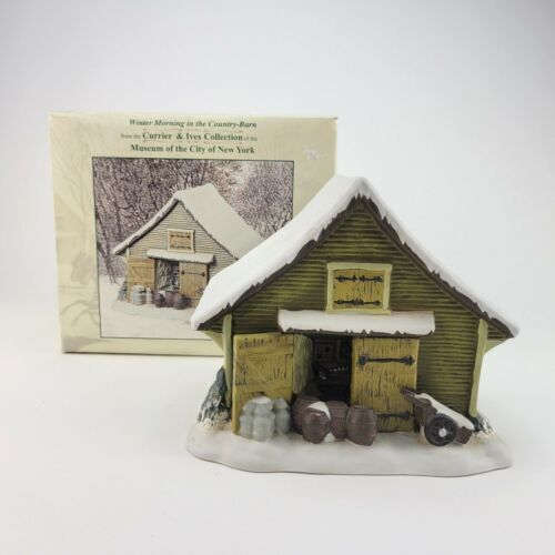 Currier Ives Winter Morning Country Barn Museum City New York Christmas Village