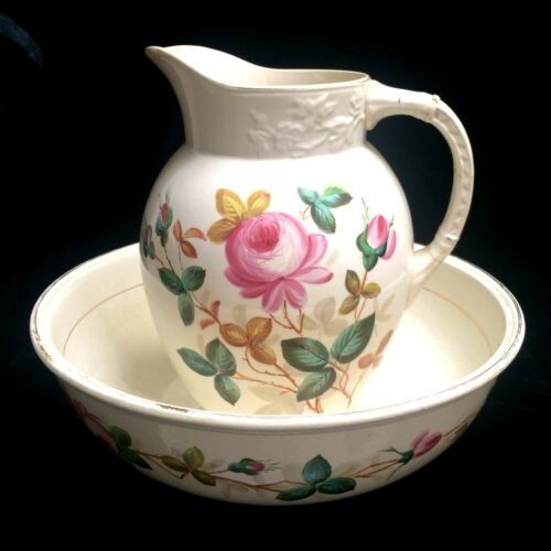 BEAUTIFUL Antique Hand Painted Roses Pitcher And Bowl Set