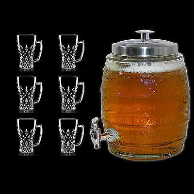 [ 5l Bierfass + 6 Biergläser ] Biertower Biersäule Bier Getränkespender Zapfhahn