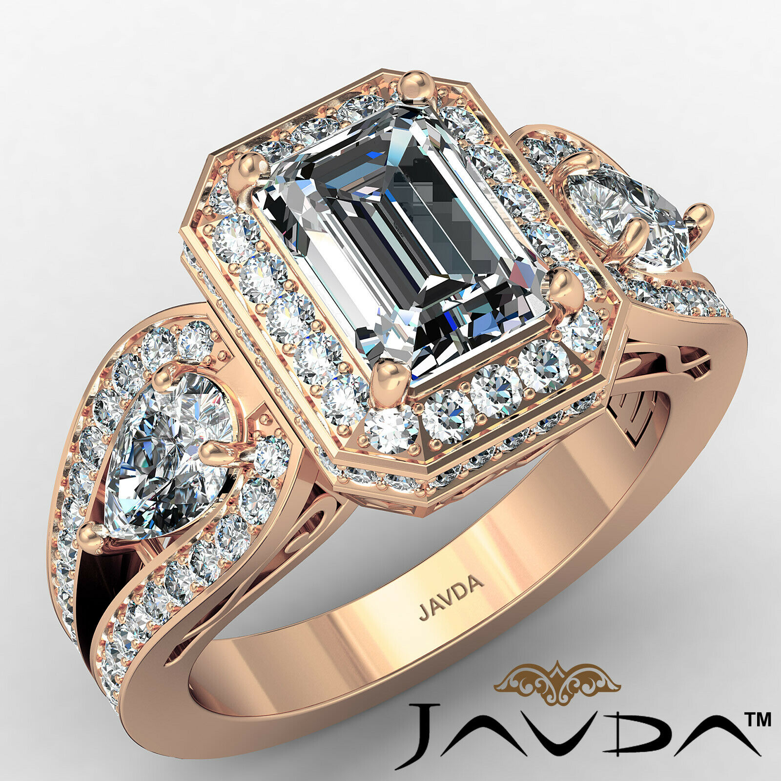 Halo Emerald Diamond Engagement Ring GIA Certified J Color & VS2 clarity 2.85ctw 2