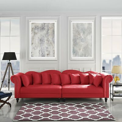 Chesterfield Large Living Room Sofa, Classic Velvet Upholstered Couch, Red Cherry Living Room Sofa