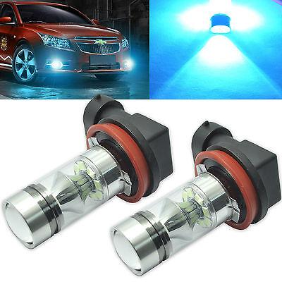2x H11 H8 Ice Blue LED Fog Light High Power 100W Samsung 2323 Chip LED DRL Bulbs