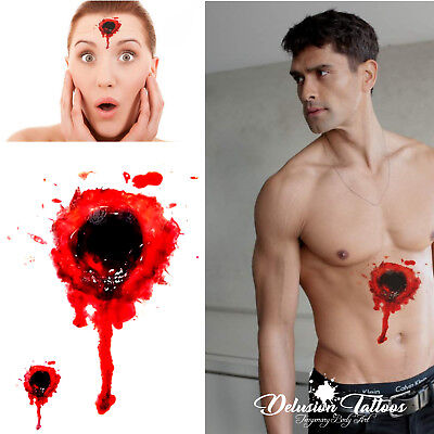 TEMPORARY TATTOO, BLOODY BULLET HOLE, SCAR, HALLOWEEN - MENS, WOMANS, KIDS, FAKE - Bloody Bullet Hole