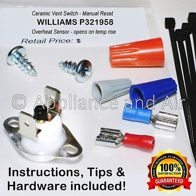 - WILLIAMS P321958 Gas Furnace Manual Reset Vent Switch CERAMIC + Instructions