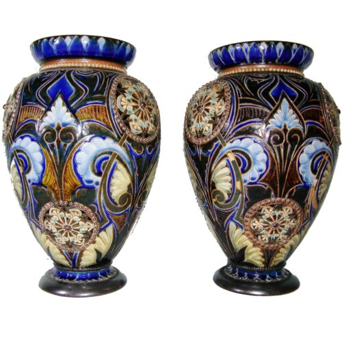 HUGE PAIR ANTIQUE 1882 DOULTON LAMBETH Blue VASES EDITH D LUPTON PIERCE CARVED