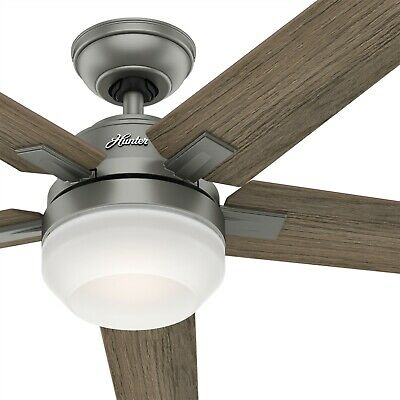 Contemporary Matte - Hunter Fan 54 inch Contemporary Matte Silver Ceiling Fan with Light Kit & Remote