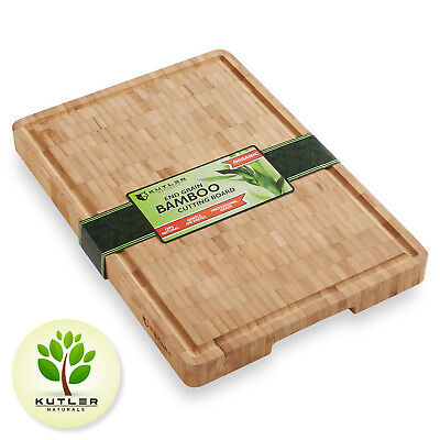 Thick End Grain Bamboo Cutting Board Kitchen Butcher Carving Chopping Block ()