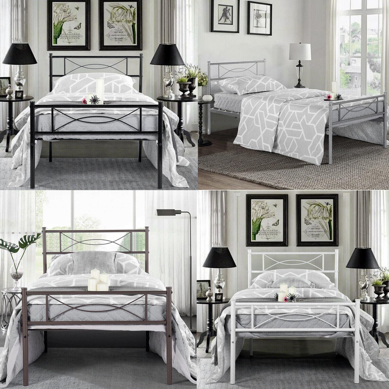 Twin Size Bedroom Metal Bed Frame Platform Headboards 6 Leg