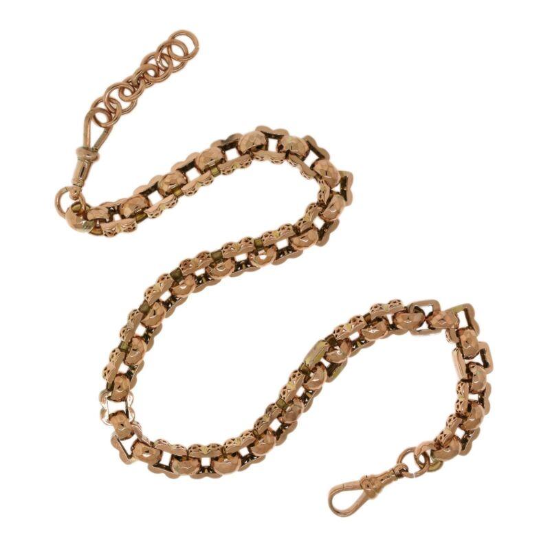 "Handmade 9KT Rose Gold Triangle/Star Link Pocket Watch Chain 16.5"""