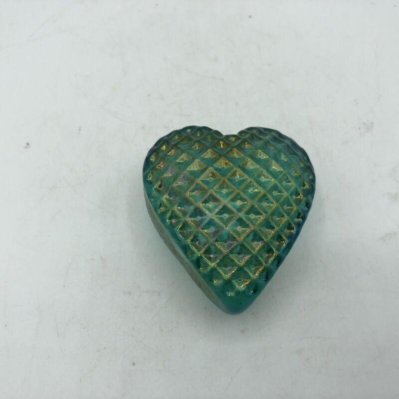 """ROBERT HELD Art Glass HEART Iridescent Emerald Green 2.75"""" Signed"""