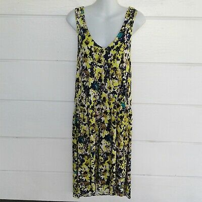 H & M Yellow Blue Multicolor Sleeveless Dress Racer Back Lightweight Size Large