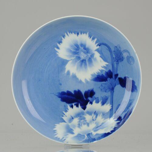 Antique 19C Japanese Arita Nabeshima Style Blue and White Flower dish